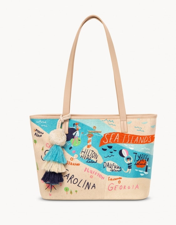 Sea Islands Embroidered Tote