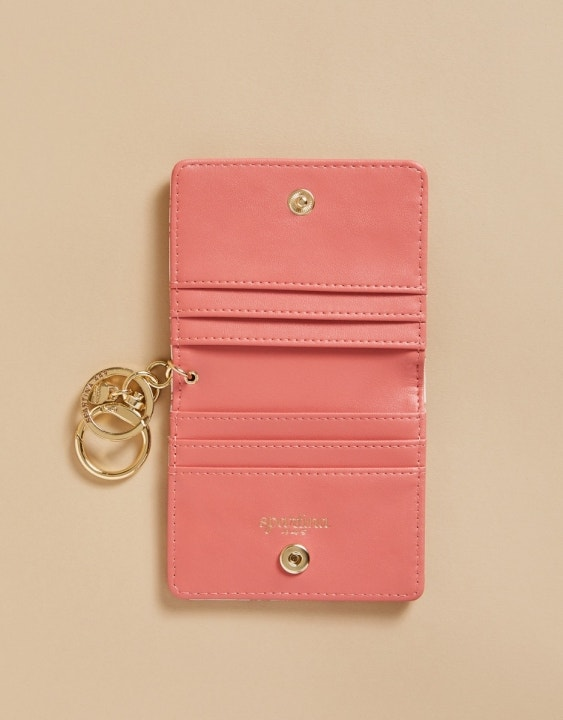 Pink House French Floral Card Keychain