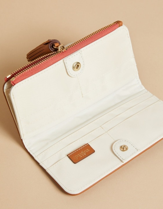 Pink House French Floral Tassel Snap Wallet