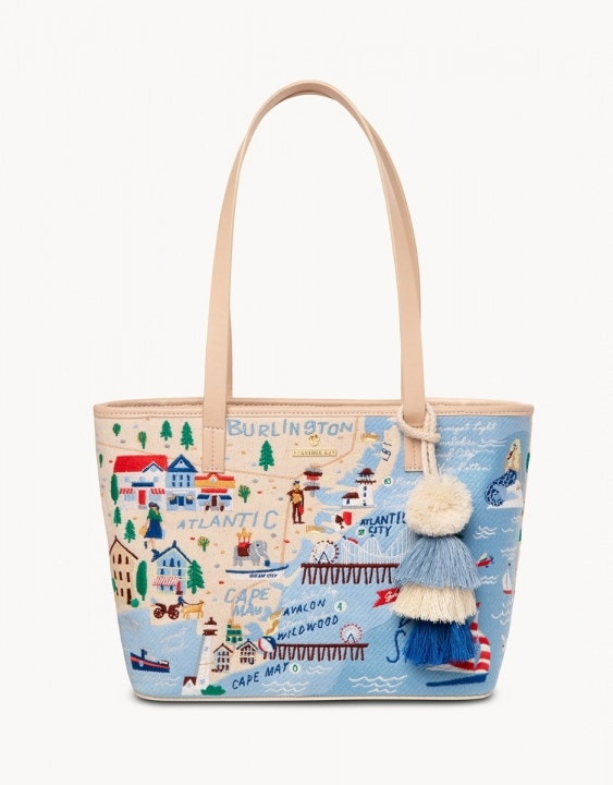Down the Shore Embroidered Tote