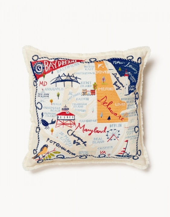 Bay Dreams Embroidered Pillow