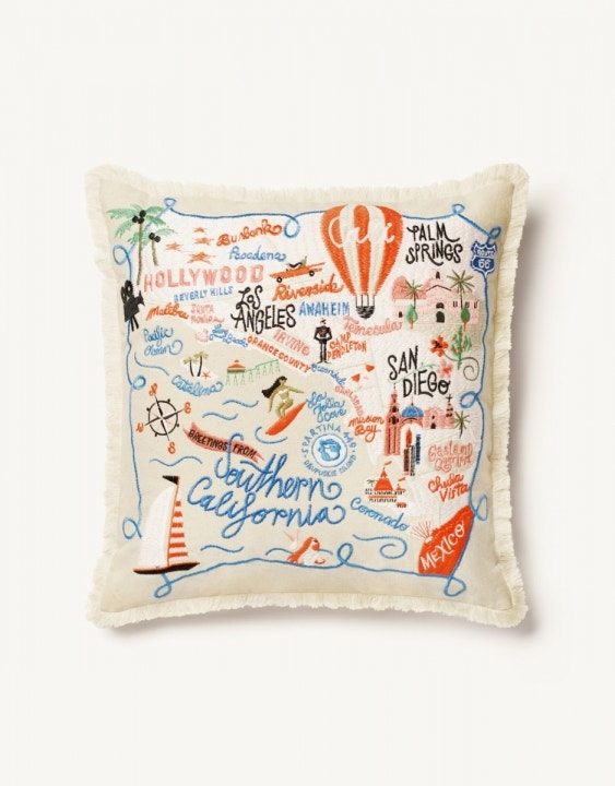 Southern California Embroidered Pillow