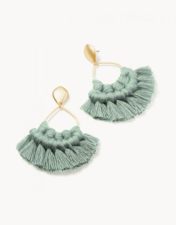 Macrame Earrings Gold/Sea Green