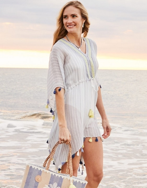 Oyster Alley Stripe Beach Cover Up