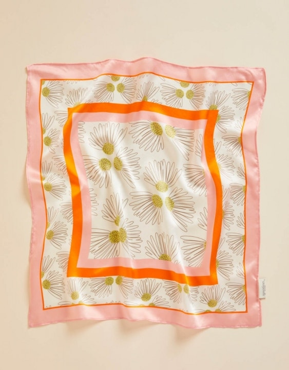 Audubon Daisy Stripe Small Silk Square Scarf