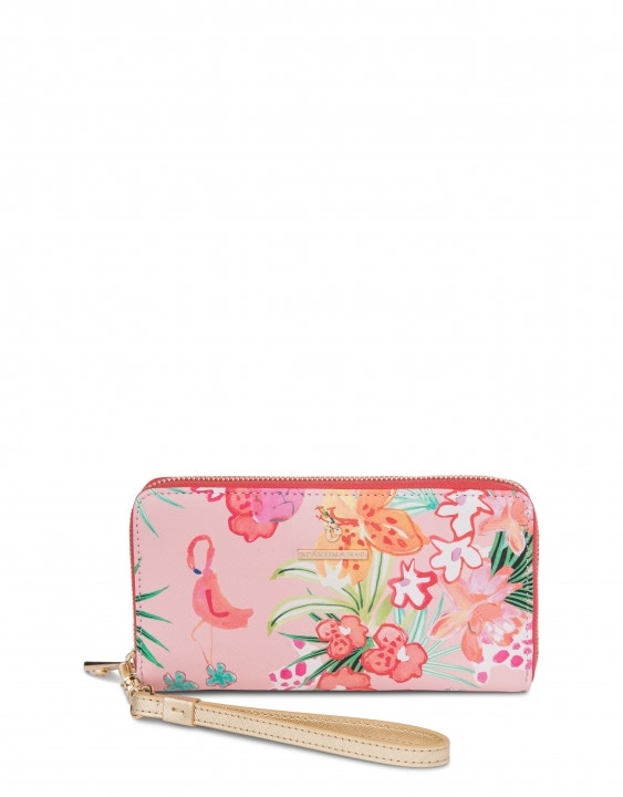 Flamingo Floral Retreat Wrist Wallet